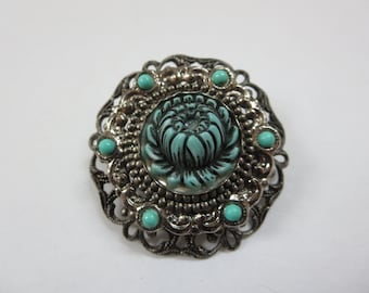 Vintage Brooch Faux Turquoise Costume Jewelery Rose Camelia Flower Pin Pot Metal