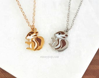 Squirrel Necklace - Squirrel Jewelry - Little Squirrel - Stainless Steel - Silver - Gold - Dainty Chain - Christmas Gift - Gift for her