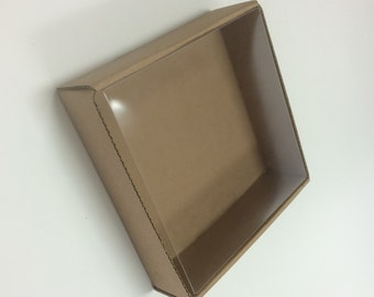 Heavy Kraft Cardboard Boxes set of 10 - Clear Top - 5 1/8 x 5 1/8 x 1 1/2 - Perfect Size for Small Gifts or Packaging - Square