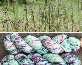 Thistles, speckled indie dyed merino nylon sock yarn