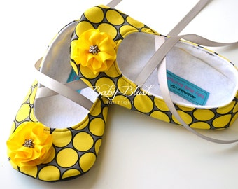 Yellow & Grey Dots Soft Ballerina Slippers Baby Booties