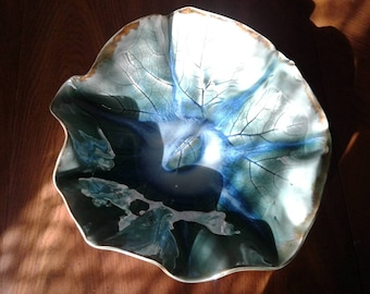 Large Hand-built Leaf Bowl