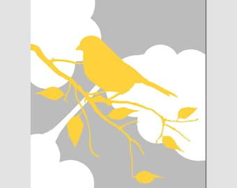 Bird in the Clouds - 11x14 Print - Bird on a Branch Silhouette - Nursery Decor, Kitchen - Choose Your Colors - Shown in Yellow, Gray, White