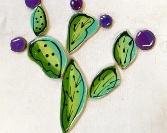Green Prickly Pear Handmade Ceramic Mosaic Tile Pack