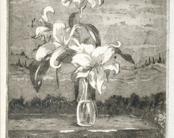 Lys flowers, original handmade etching