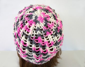 Crochet Hat Pattern: Lacy Spiderweb Beanie in Fingering Weight Yarn Lace SkullCap Crochet Pattern