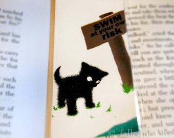 Black Cat at Lake Laminated Bookmark - Suspicious Sammy Illustration