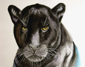 Black Panther Leopard wild animal art watercolor Original painting wildlife