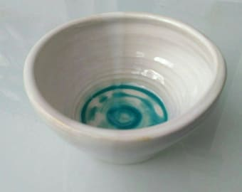 White glazed ceramic bowl, cereal bowl, ornament in green glaze,