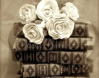"""Book Art, Book Photography, Antique Book Print, Library Office Decor, French Country Sepia Print, Rose Still Life Print- """"Hopeless Romantic"""""""