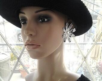 Beautiful White and Blue Flower Fabric Post Earrings with Rhinestone, Women Earrings, Fashion Earrings, Fabric Earrings, Large Earrings