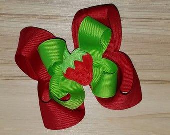 Noeud en fraise, rouge ou rose, printemps, été, arc de cheveux