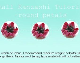 Kanzashi Tutorial - Round Petals - Small Round Petalled Kanzashi Flower Tutorial - Fabric Flower Tutorial