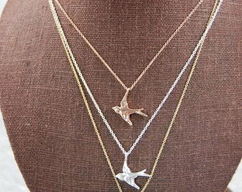 Swallow Bird Necklace, Sterling Silver or 14K gold necklace, bird necklace,Swallow Necklace, Swallow, Yoga Jewelry,Yoga Gifts,Yoga Necklace