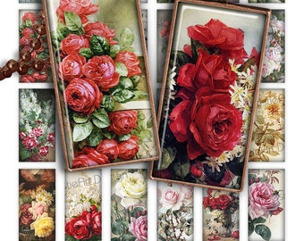 75% OFF SALE Painting Roses Digital collage sheet printable download 1x2 inch image size rectangle glass pendant resin digital image flowers