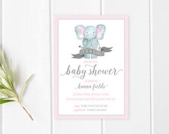 Baby Shower Invitation, Girl Baby Shower Invitation, Baby Shower Invites, Baby Shower, Pink Baby Shower Invite, Elephant Baby Shower [407]