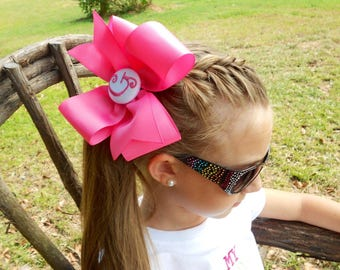 Monogram Initial, Hair Bow, Any Letter, Custom Boutique, Girls Gift Idea Portrait, Kids Huge Bow, Monogrammed Font, Personalized Gift