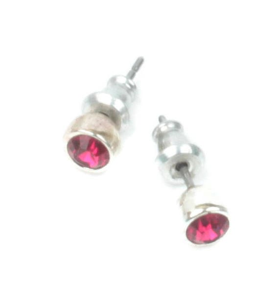 Garnet Crystal Stud Earrings Petite Size Post Earrings Vintage