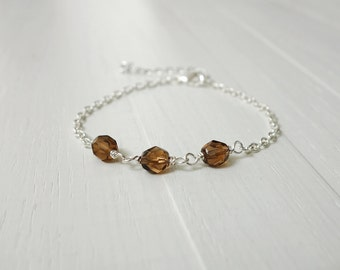 Dainty chain bracelet brown beads bracelet chain minimalist bracelet for women layering bracelet