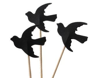 24 Black Bird Dove Cupcake Toppers, Party Picks, Food Picks, Toothpicks, Drink Picks - No389