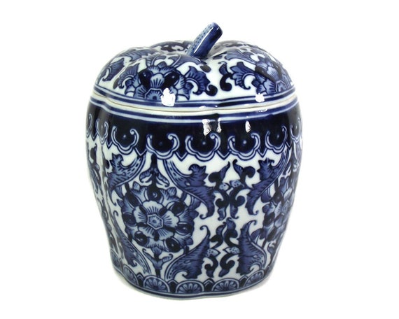 "8"" Vintage Blue and White Pumpkin Ginger Jar, Chinoiserie Decor, Chinese Porcelain Jar, Chinese Cobalt Blue and White Jar, Chinoiserie Vase"