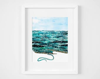 knitted sparkling sea watercolor illustration art print | gifts for knitters, mermaid, craft, yarn, magic, ocean, decoration