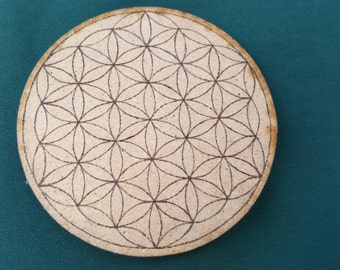 Flower of Life Disc Altar Shrine Tile Sacred Geometry Crystal Grid Pyrography