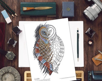 Owl Colouring Page, Adult colouring pages, Wise Owl Coloring Page, Printable coloring pages, Coloring book, Owl art