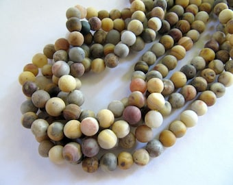 6mm Frosted AGATE Beads, Crazy Lace Agate, Matte Tan Brown, Amber, Gray, 5mm - 6mm, 1 Strand 15 Inches, Approx 62 Beads, Frosted Gemstones
