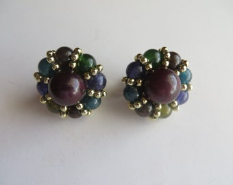 Vintage Glass Beads Clip On Earrings