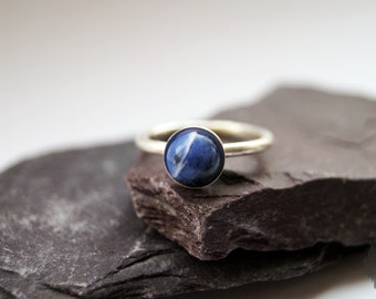 Blue Sodalite Sterling Silver Ring ~ statement ring, stacking ring, gemstone, unique, solitaire