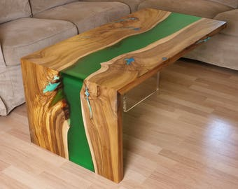 Waterfall live edge river coffee table with plexiglass leg and glowing resin