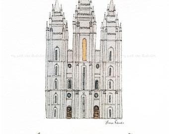 Salt Lake City, Utah Temple -  Archival Print by Laura Davies