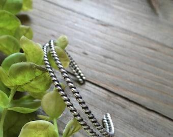 Handmade double ropes cuff bracelet