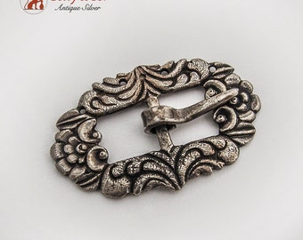 Antique Small Ornate Hand Chased Buckle Coin Silver