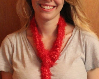 Warm and fuzzy red scarf.  Acrylic blend.
