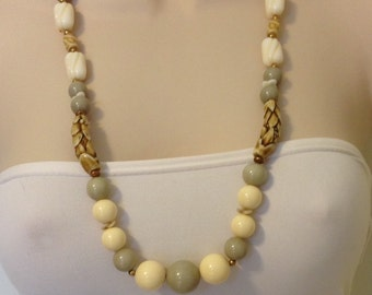 Vintage Long Ivory, Gray, and Brown Beaded Necklace Handmade One of a Kind 29.75 Inches Long Previously 18 Dollars ON SALE