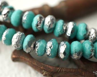 Aqua Rondelles, Rondelle Beads, Czech Beads, Beads, N2173