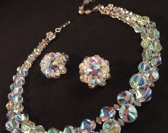 Gorgeous Hobé Crystal Parure of Aurora Borealis Faceted Aspirin Glass Beads (Chain-Strung Necklace and Earrings) A Rainbow of Color! 1232