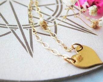 Gold Heart Necklace, Simple Gold Necklace, Minimalist Necklace, Dainty Gold Necklace, Gold Necklace, Everyday Necklace, Gold Fill