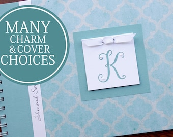 Wedding Anniversary Journal | Personalized Anniversary Memory Book | Paper Anniversary Gift | Engagement Gift | Teal Brocade with Initial