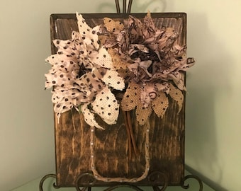 Mason Jar String Art with Burlap Flowers