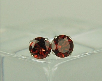 Memorial Day Sale Garnet Stud Earrings Sterling Silver 6mm Round 2ctw Natural Untreated