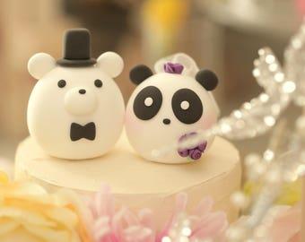 panda and  bear wedding cake topper