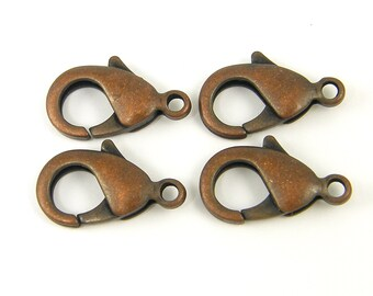 22mm Antique Copper Lobster Clasp 4 Pcs Large Copper Clasp |CO2-10|4