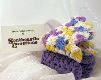 Dishcloth, Cotton Dishcloth, Washcloth, Dishrag Set, Purple and Cream, Hand Crocheted Wash Cloth, 100% Cotton, Round Dishrag