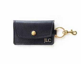Monogrammed Leather Keychain Wallet, Personalized Credit Card Wallet, ID Holder, Business Card Wallet, Gift Card Presenter, Metro Card Pouch