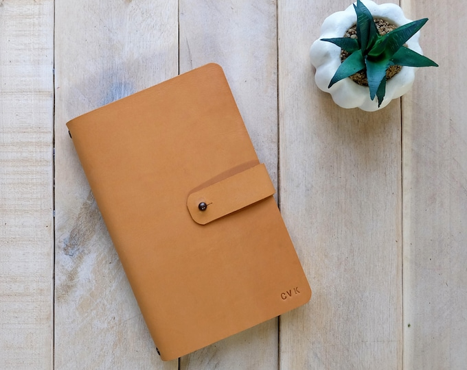 Leather Journal with Stud Closure and Rivet Details - Free Monogram