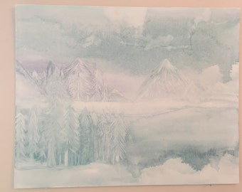 Purple Blue Watercolor Abstract Mountain scene Painting