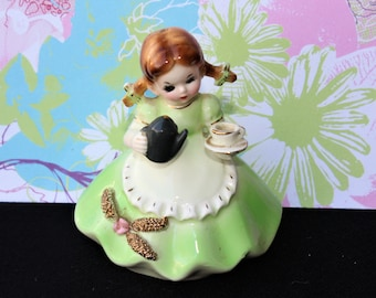 """On Sale!! Vintage JOSEF ORIGINALS  """"Little Housekeepers Series"""" Girl with Teapot"""